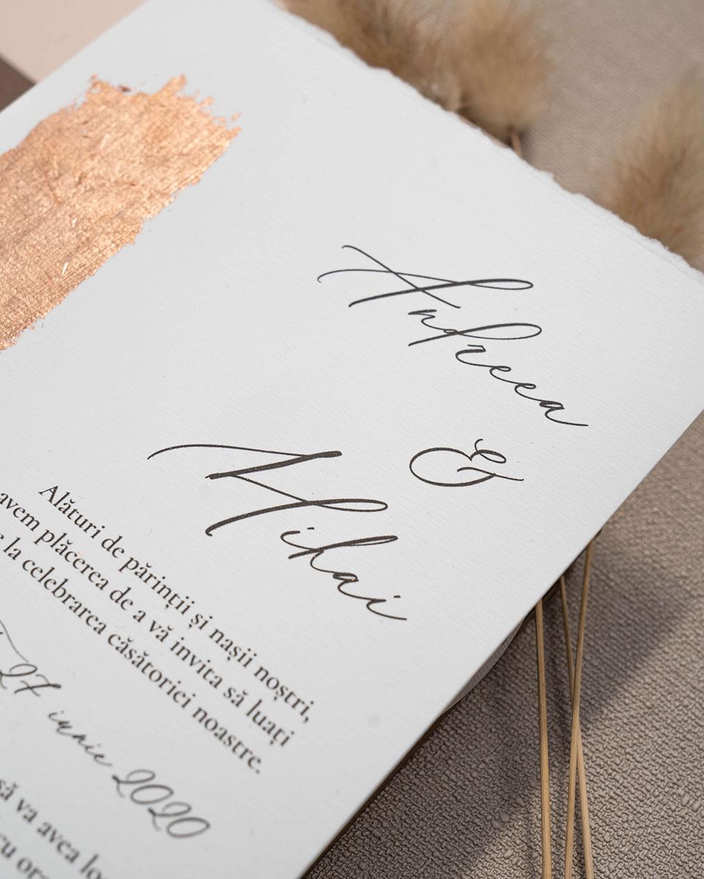 invitatie de nunta cu foita copper closeup