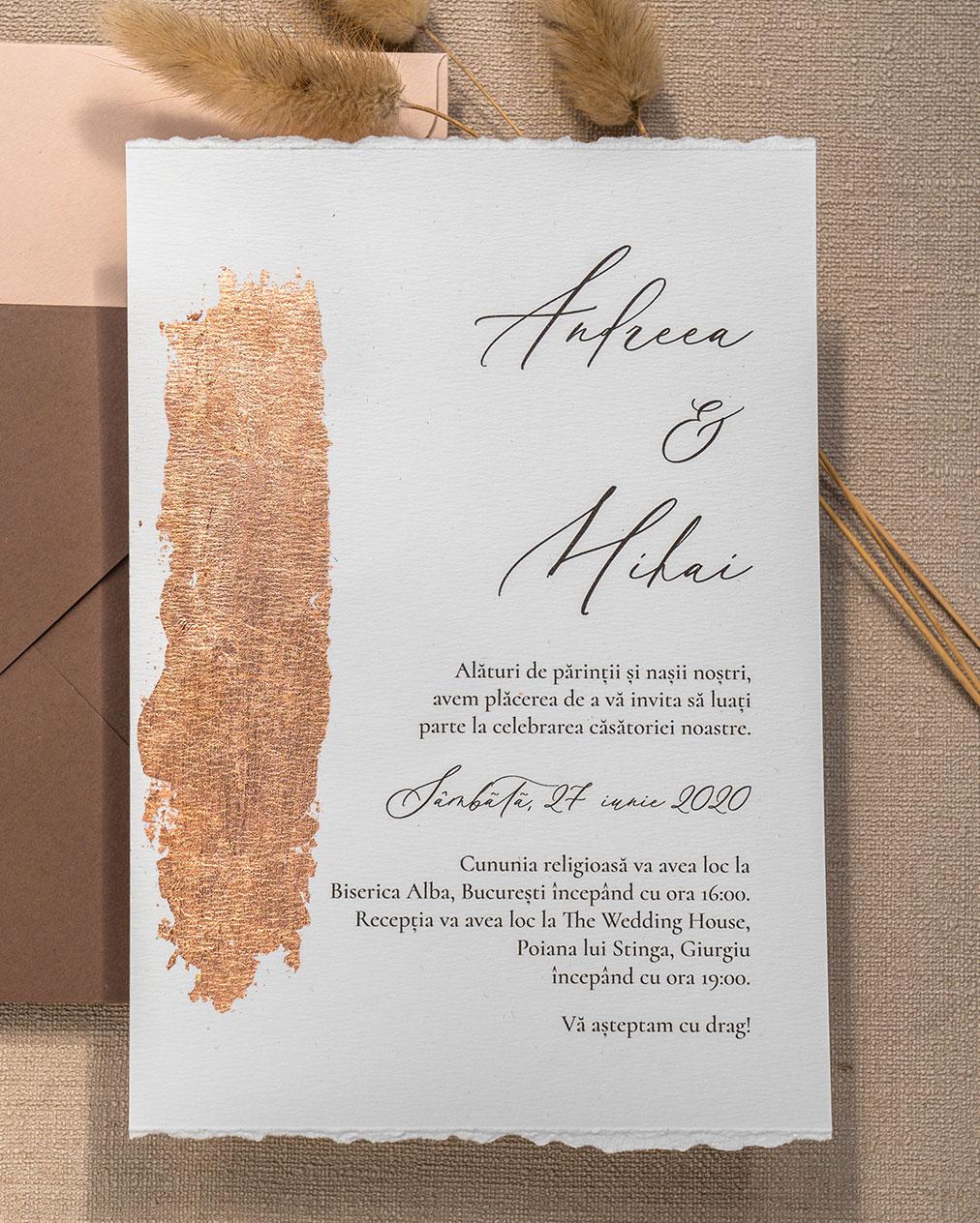 invitatie de nunta cu foita copper