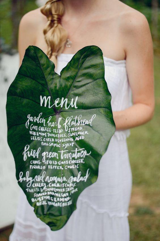 meniuri nunta pe frunze